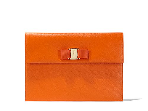 SALVATORE FERRAGAMO Vara Orange Saffiano Leather Bow Mini Clutch Handbag