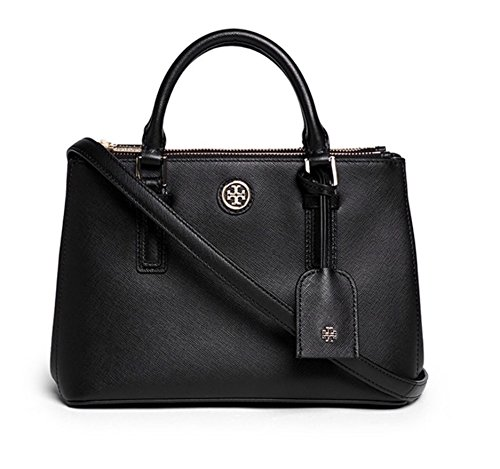 Tory Burch Robinson Micro Double-Zip Tote – Black