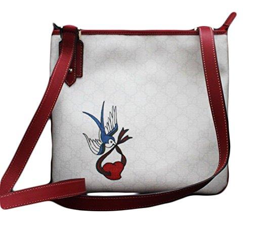 Gucci White GG Plus Bird Tattoo Cross Body Messenger Handbag 239347