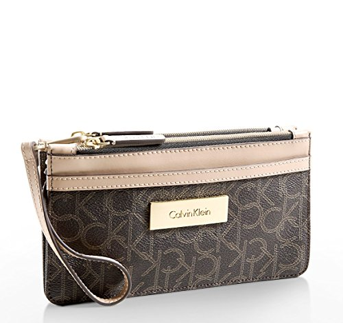 Calvin Klein Women Jordan Mini Double Zip Wristlet Signature Wallet