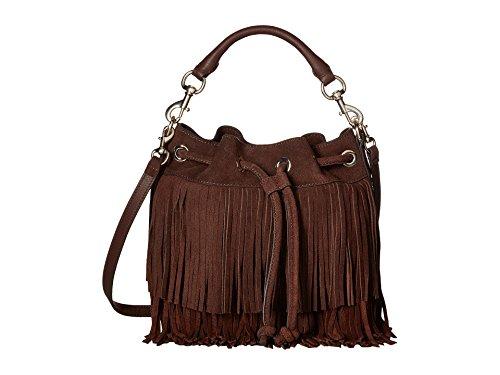 Rebecca Minkoff Fringe Fiona Suede Leather Bucket Shoulder Crossbody Bag Chocolate