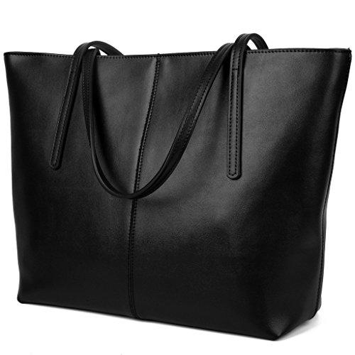 YALUXE Women's Large Capacity Leather Work Tote Zipper Closure Shoulder Bag Black