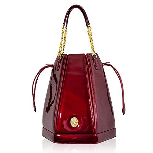 Valentino Orlandi Italian Designer Red Patent Leather Drawstring Bucket Purse