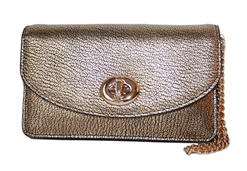 Coach Crossbody Clutch in Metallic Gold Leather Handbag Purse F53589