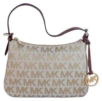 MICHAEL KORS Jet Set Signature Small Top Zip Canvas Shoulder Bag