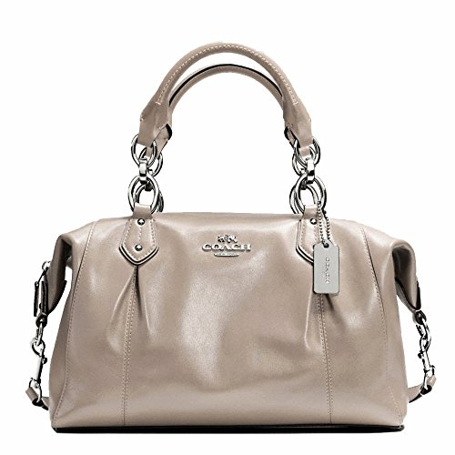 New Authentic Coach New York Grey Birch Colette Leather Satchel Convertible Shoulder Bag