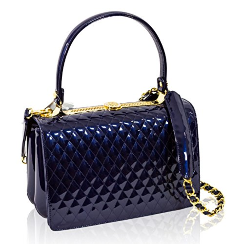 Valentino Orlandi Italian Designer Blue Quilted Leather Purse Top Handle Bag