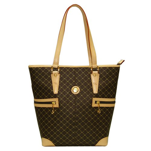 Signature Brown Tall Tote Shopper by Rioni Designer Handbags & Luggage