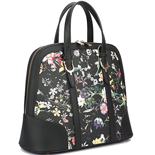 Dasein Zip Around Flat Bottom Floral Fashion Satchel Shoulder Bag