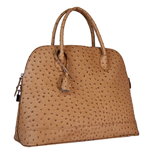 HS5197 AMARIS Ostrich Embossed Dome Satchel Leather Satchel/Shoulder Bag