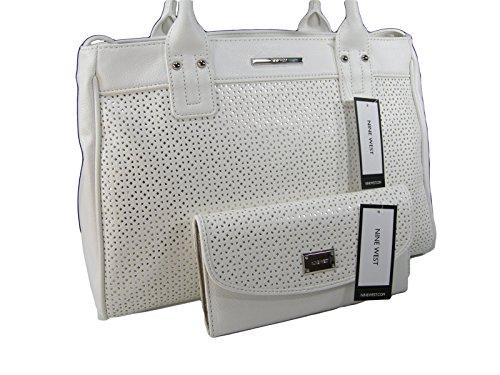 New Nine West Logo Purse Satchel Hand Bag White & Matching Wallet 2 Piece Set