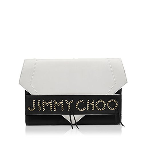Jimmy Choo Designer SIERRA Latte and Black Glossy Leather Oversized Clutch Made in France