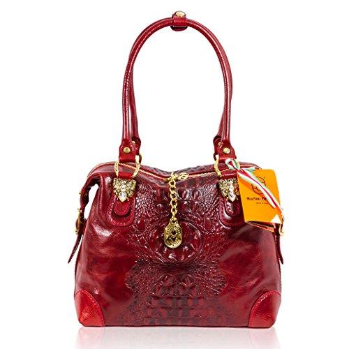 Marino Orlandi Italian Designer Red Alligator Leather Swarovski Purse Bag