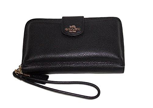 Coach Pebble Leather Wristlet Phone Wallet Clutch Black