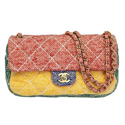 Chanel Women's Multicolor Jersey Flap Chain Shoulder Bag A90718