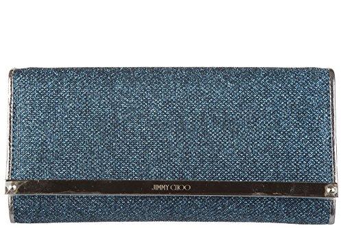 Jimmy Choo women's leather clutch handbag purse with shoulder strap original milla ocean blu