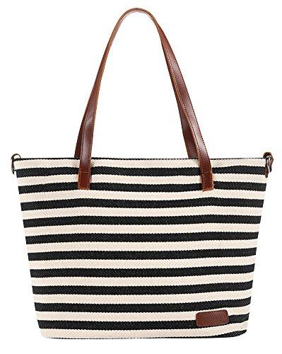 ilishop Women's Summer Beach Handbags Stripe Tote Canvas Shoulder Zipper Bag (Black)
