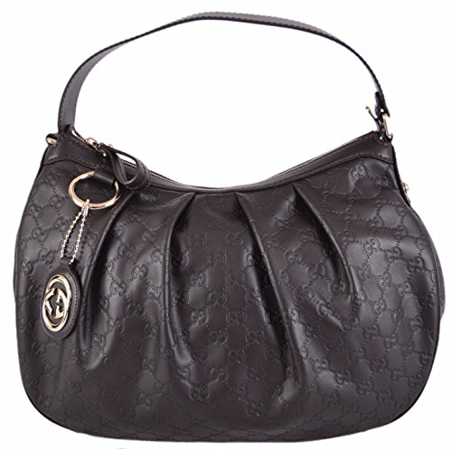 Gucci Women's Brown Leather Guccissima GG Charm Sukey Hobo Purse