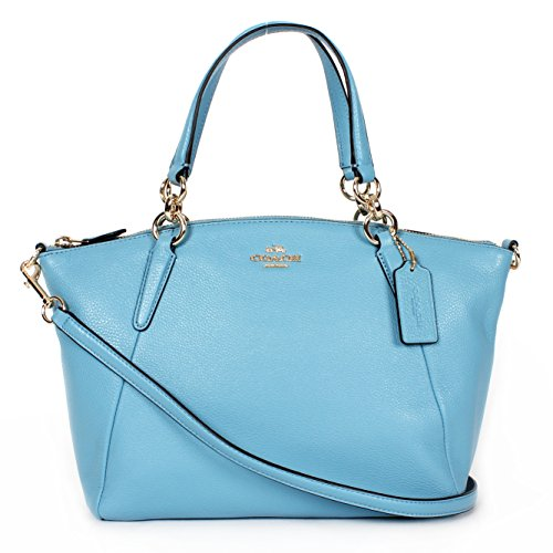Coach Small Kelsey Satchel in Pebble Leather Bluejay