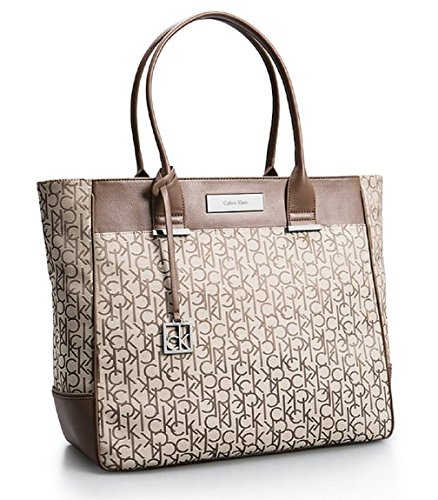 Calvin Klein Logo Jacquard Large Shopper Tote Shoulder Bag Handbag Satchel (Natural)