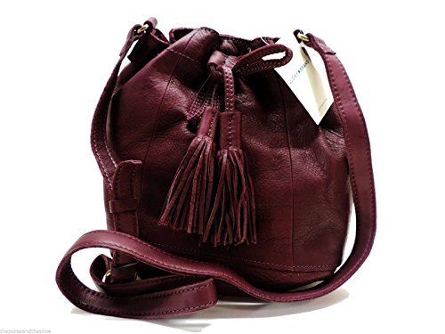 Lucky Brand Harper Bucket Bag Wine Leather Shoulder Handbag