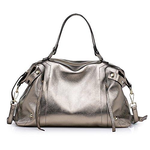 Kattee Soft Cowhide Genuine Leather Large Tote Handbag