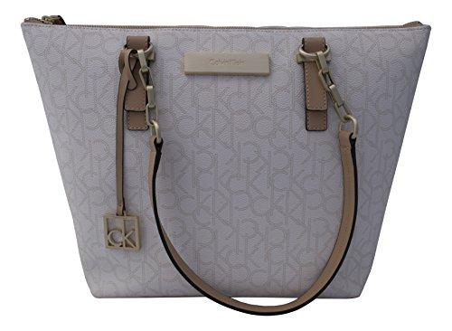 Calvin Klein Jordan Logo Zip Top Tote Bag Handbag Purse White
