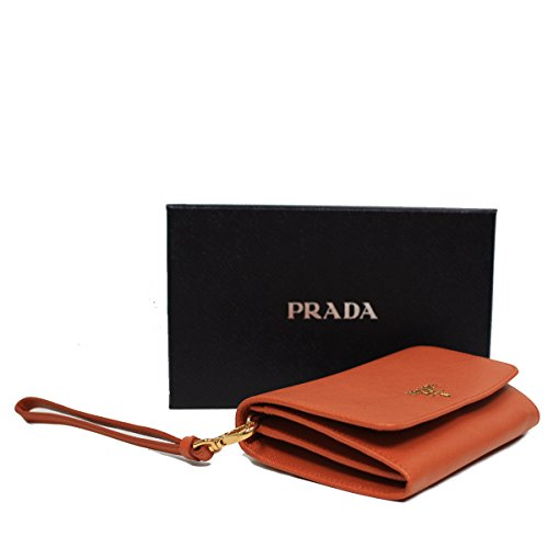 Prada Orange Saffiano Textured Leather Wristlet Wallet Bag 1M1438