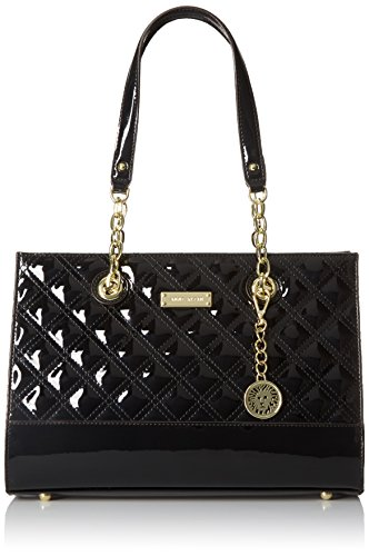 Anne Klein Coast Is Clear Tote Bag, Black Patent, One Size