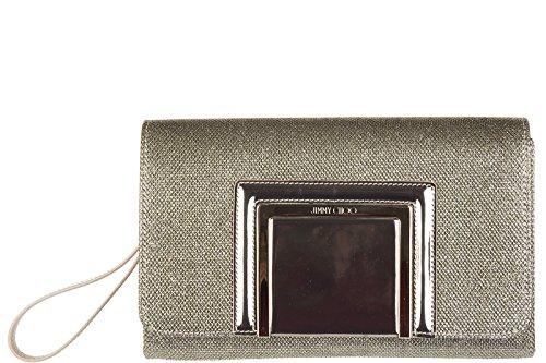 Jimmy Choo women's leather clutch handbag bag purse alara glitter gold