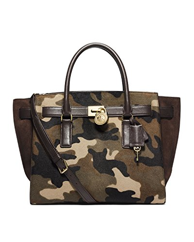Michael Kors Camo Haircalf Medium Hamilton Tote Duffle Bag