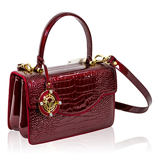 Valentino Orlandi Italian Designer Burgundy Croc Leather Purse Top Handle Bag