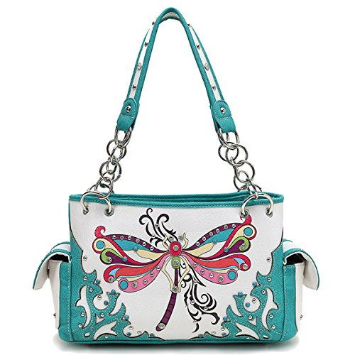 Cowgirl Trendy Western Concealed Carry Spring Summer Colour Dragonfly Purse Handbag Shoulder Bag Turq