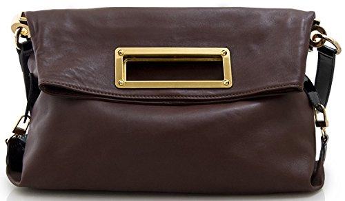Lush Leather Metal Handle Foldover Shoulder Bag