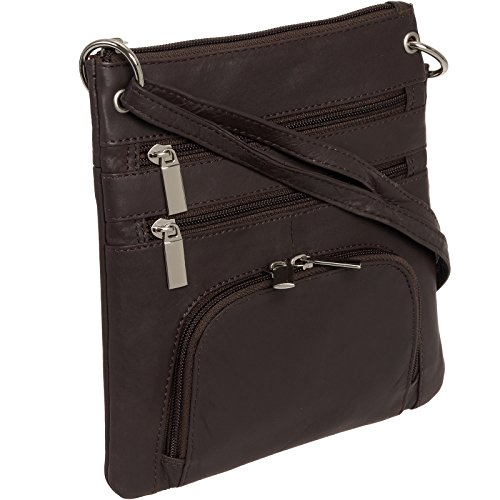 Silver Lilly Womens Genuine Leather Multi-Pocket Crossbody Purse Bag