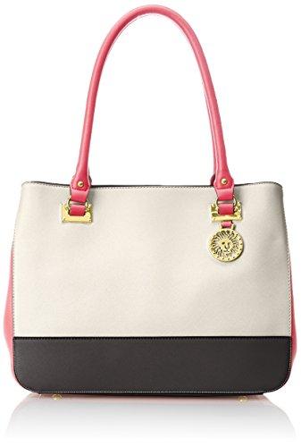 Anne Klein New Recruits Satchel LG Bag, Bone/Black/Tulip, One Size