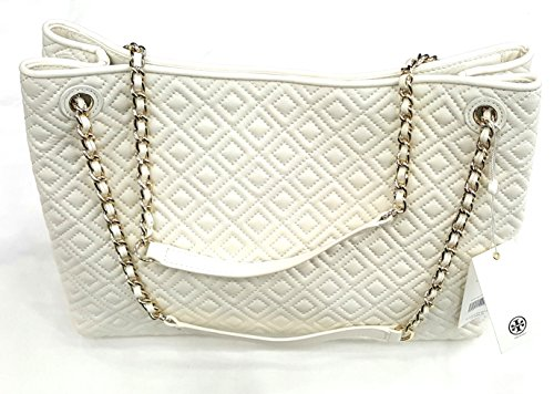 Tory Burch Marion Quilted Center Zip Tote Bag In New Ivory