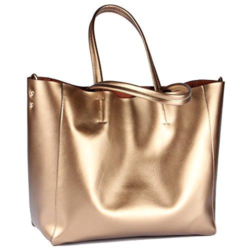 Yiwanda Women's Fashion Genuine Leather Extra Large Handbags Tote Bag Shoulder Bag Satchel Messenger Bags – Glod