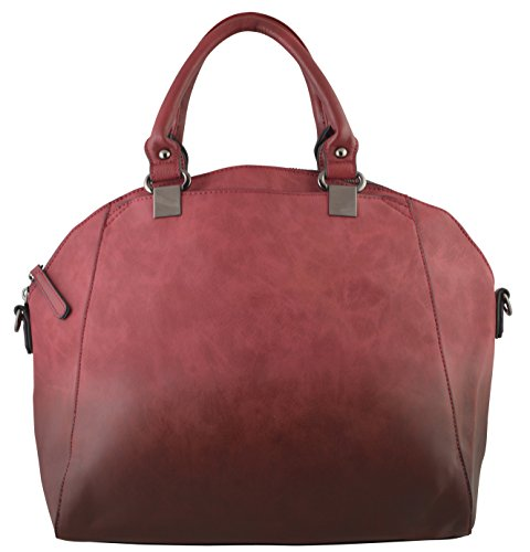 Lola's Elegant Hobo Satchel Doctor Bag in Two Tone Material Dyed Finishing (Red)
