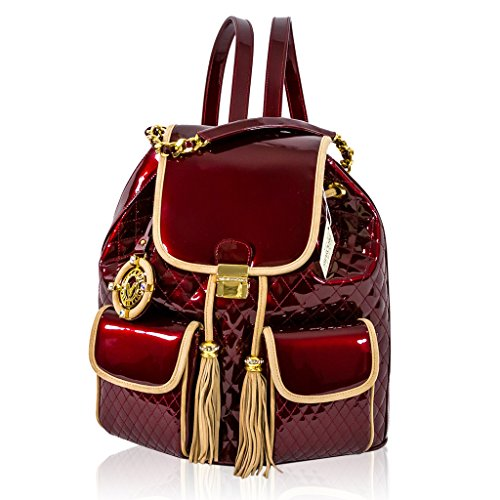 Valentino Orlandi Italian Designer Burgundy Quilted Leather Purse Backpack