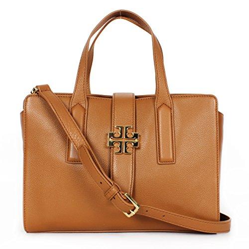 Tory Burch Meyer Convertible Pebbled Leather Satchel Shoulder Bag Bark