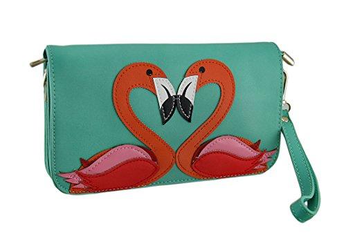 Flamingo Love Birds Clutch Purse w/Removable Straps