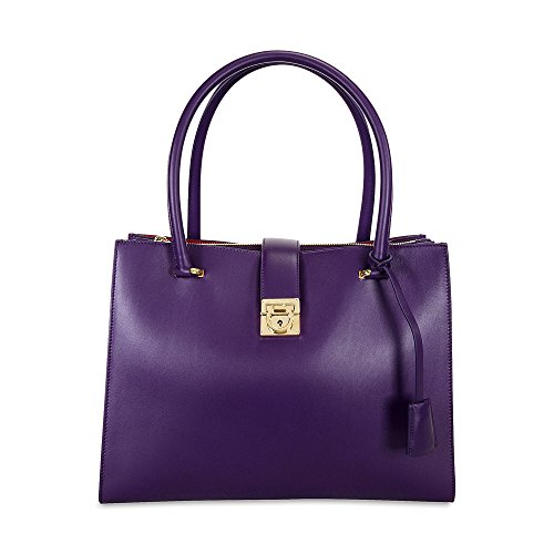 Ferragamo Marlene Black Leather Handbag – Purple
