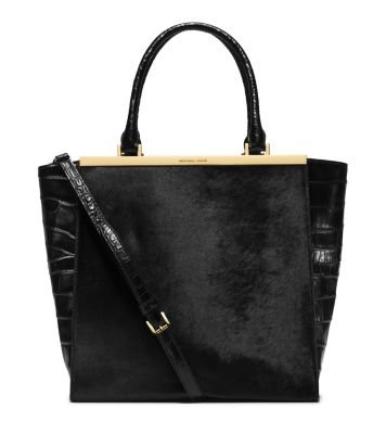 Michael Kors Lana Embossed-leather Tote Black