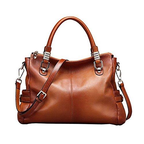 AINIMOER Soft Cowhide Leather Tote Shoulder Bag Women Top-handle Crossbody Handbag Purse Messanger
