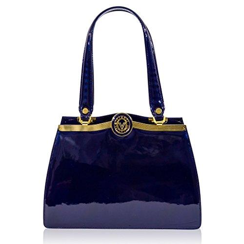 Valentino Orlandi Italian Designer Midnight Blue Patent Leather Satchel Purse