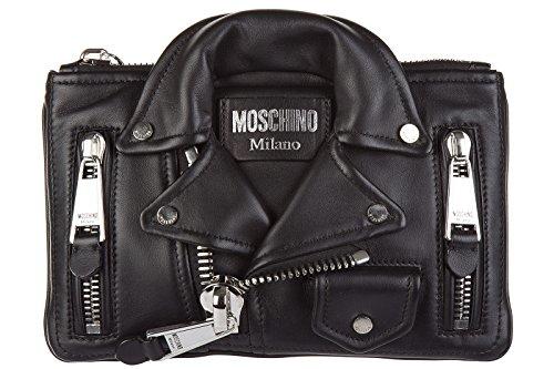 Moschino women's leather clutch handbag bag purse black