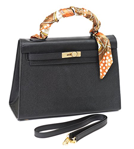 Beaute Bags Classic Grace Padlock Frame Handbag Textured Genuine Leather