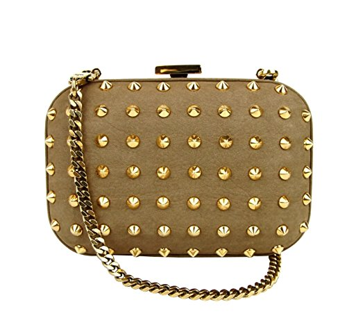 Gucci Women's Brown Leather Studded Broadway Evening Clutch Bag 297416 2814