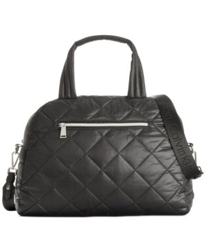 Calvin Klein Cire Nylon Quilted Satchel Black Bag New